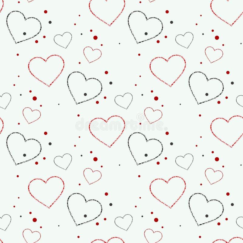 Sömlös modell för abstrakta förälskelsehjärtor För Sanka valentindagkort stock illustrationer