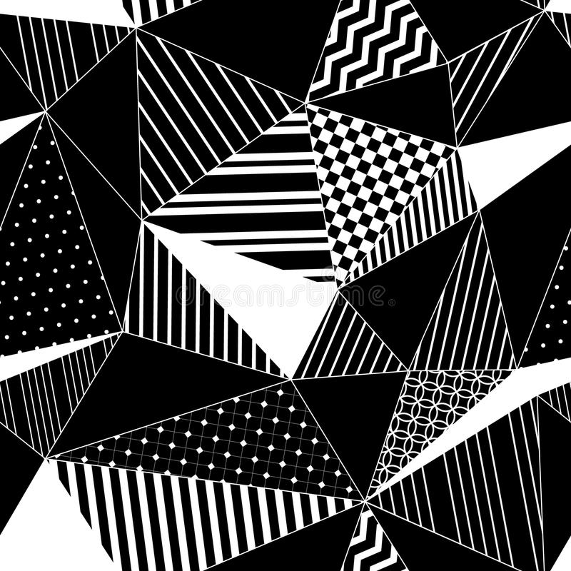 Sömlös modell för abstrakta geometriska randiga trianglar i svartvitt, vektor vektor illustrationer