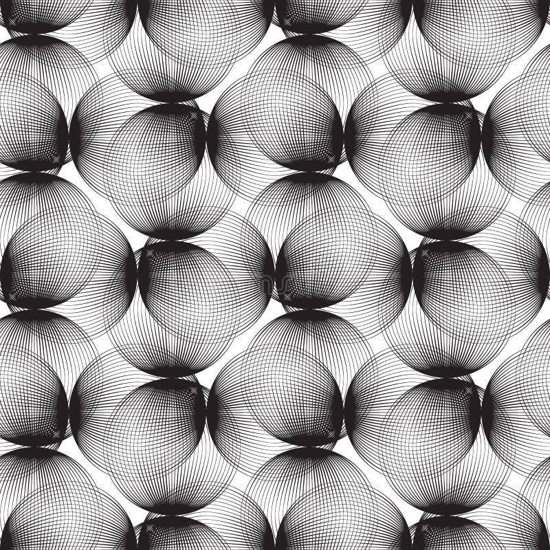 Sömlös modell för abstrakta linjära sfärer Monokrom repeatable modern design med bubblor Geometrisk cirkelbakgrund royaltyfri illustrationer