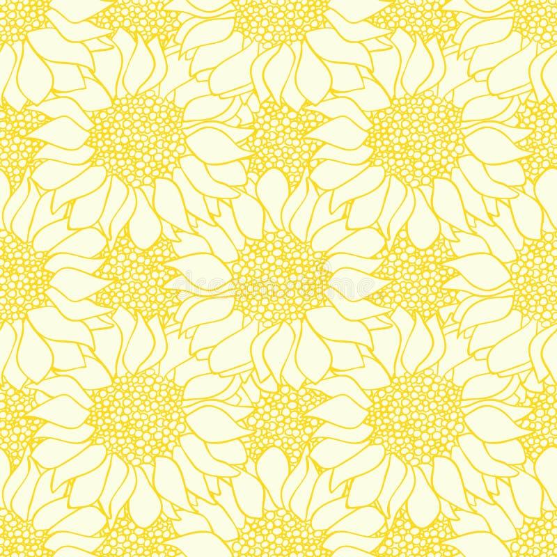 Sömlös modell för abstrakta solrosblommor i gula och vita färger stock illustrationer