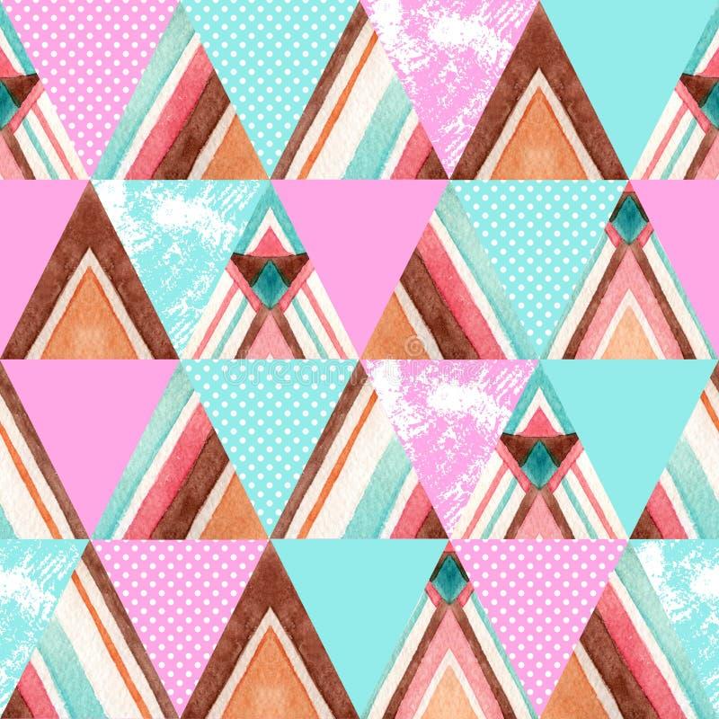 Sömlös modell för abstrakta trianglar för vattenfärg utsmyckade stock illustrationer