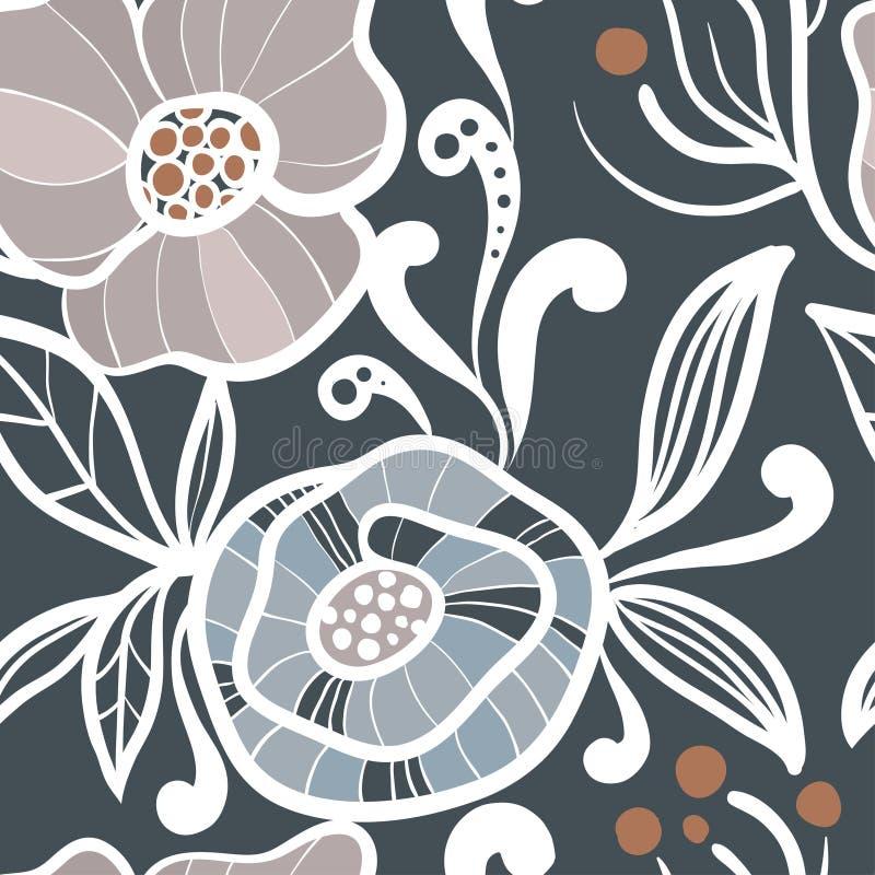 Sömlös modell för abstrakta växter vektor illustrationer