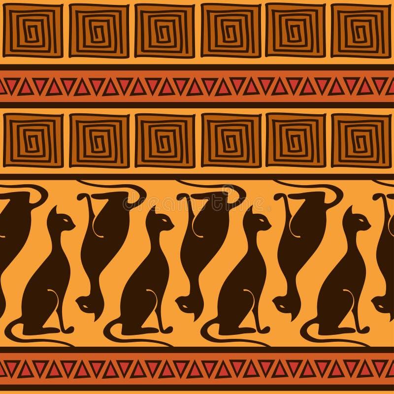 Sömlös modell för afrikansk prydnad med katter stock illustrationer