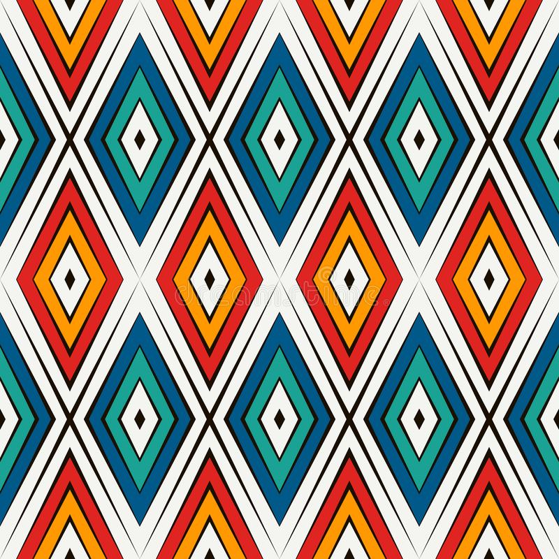 Sömlös modell för afrikansk stil i ljusa färger Etniskt och stam- motiv Upprepad abstrakt bakgrund för romber stock illustrationer