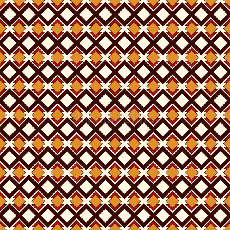 Sömlös modell för afrikansk stil med geometriska diagram Upprepad dekorativ abstrakt bakgrund för diamant Etniskt motiv royaltyfri illustrationer