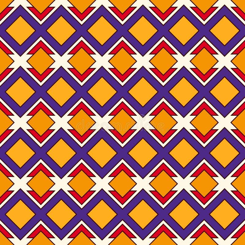 Sömlös modell för afrikansk stil med geometriska diagram Upprepad dekorativ bakgrund för diamant Etniskt och stam- motiv royaltyfri illustrationer