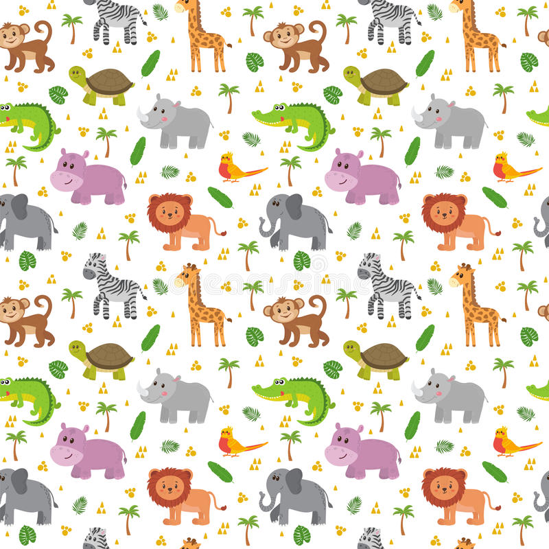 Sömlös modell för afrikanska djur Barnsliga djur för gullig tecknad film royaltyfri illustrationer