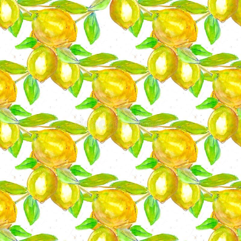 Sömlös modell för akvarell Citroner och sidor, dragen hand royaltyfri illustrationer