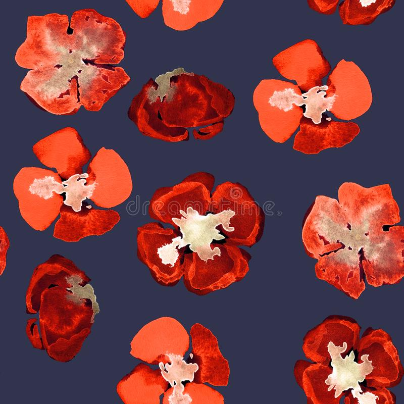 Sömlös modell för akvarell med den röda lilla vallmo på mörker - blått vektor illustrationer