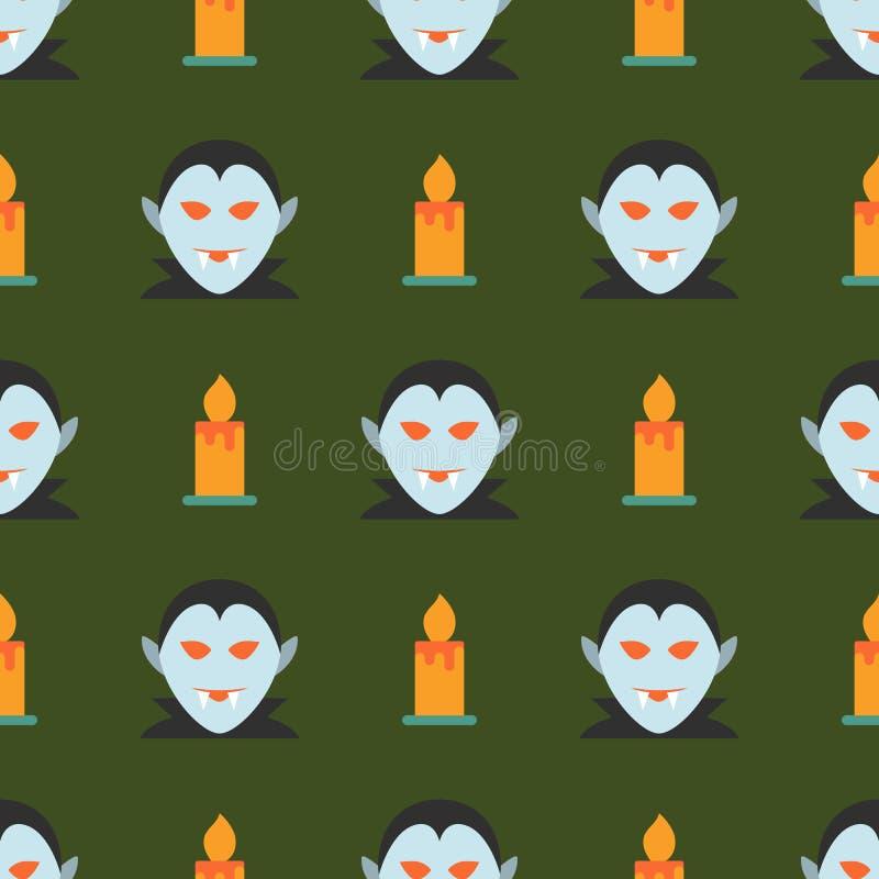 Sömlös modell för allhelgonaafton med spöken och stearinljuset på mörker - grönt b royaltyfri illustrationer