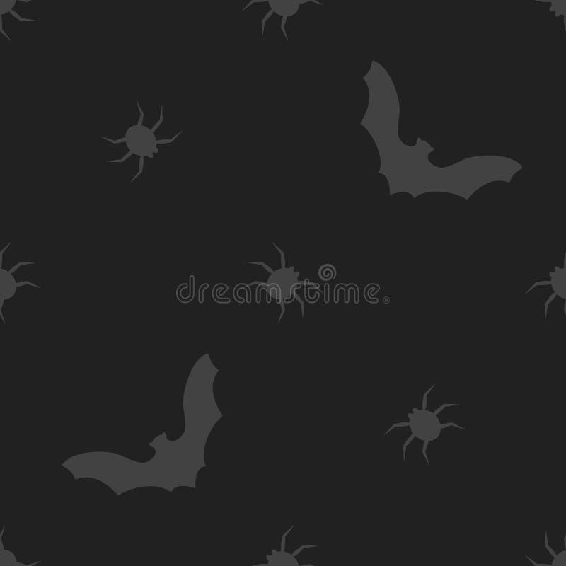 Sömlös modell för allhelgonaaftonvektor med slagträet och spindeln royaltyfri fotografi