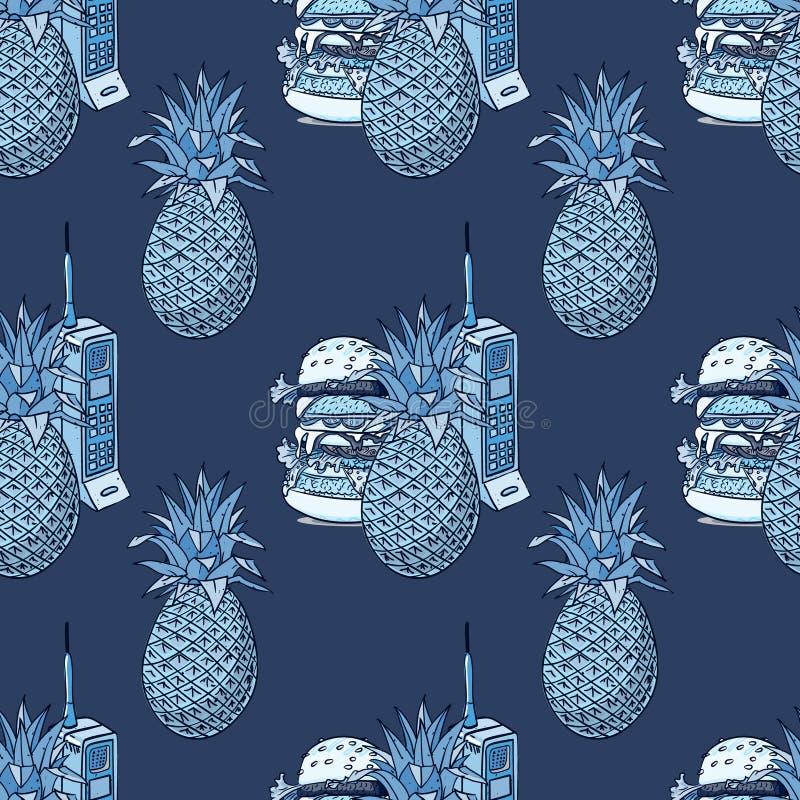Sömlös modell för ananas, för hamburgare och för tappningmobiltelefon stock illustrationer