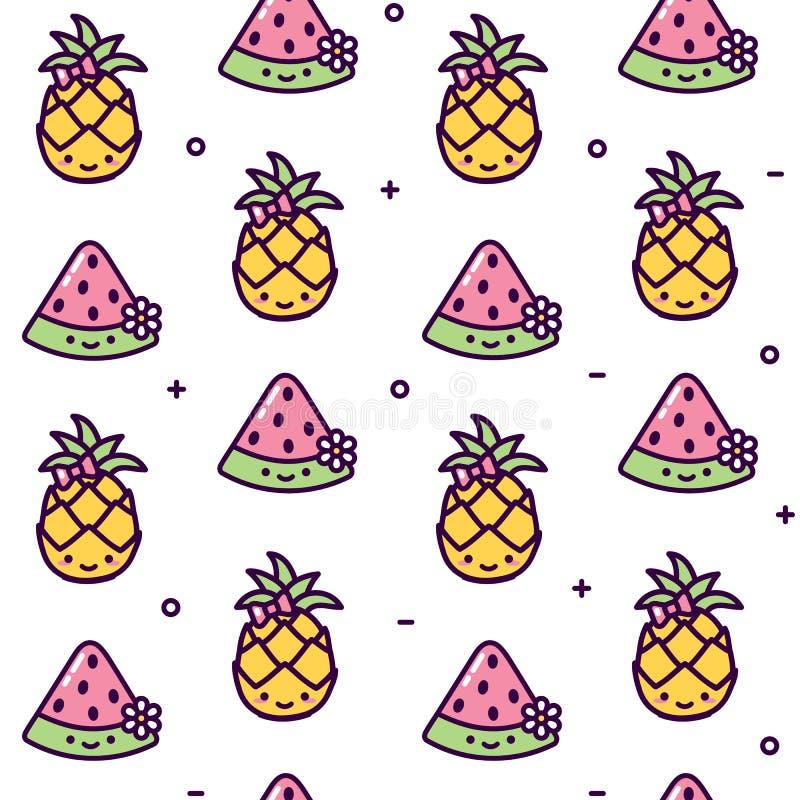 Sömlös modell för ananas- och melonkawaii stock illustrationer