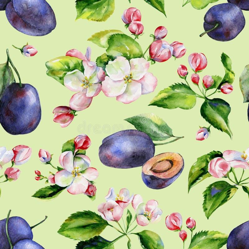 Sömlös modell för för Apple trädfilialer och plommoner stock illustrationer