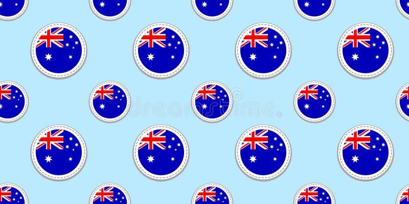 Sömlös modell för Australien rundaflagga Australisk bakgrund Vektorcirkelsymboler Geometriska symboler Textur för sportsidor, Co vektor illustrationer