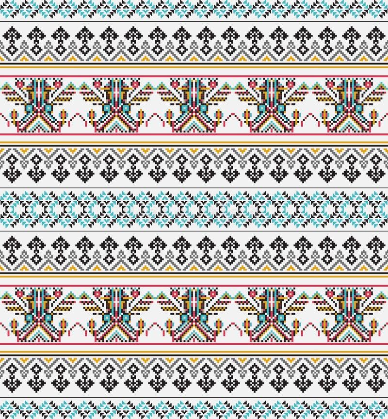 Sömlös modell för Aztec PIXEL Ideal för utskrift på tyg, papper, rengöringsdukdesign stock illustrationer