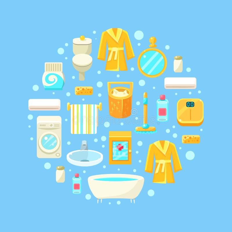 Sömlös modell för badrum av runda Shape, inre beståndsdelar för badrum, toaletttillförsel, skönhetsmedelvektorillustration stock illustrationer