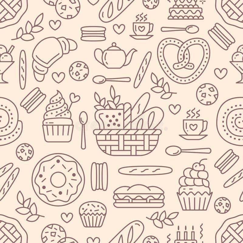 Sömlös modell för bageri, matvektorbakgrund av beige färg Konfektprodukter gör linjen symboler tunnare - baka ihop, gifflet stock illustrationer