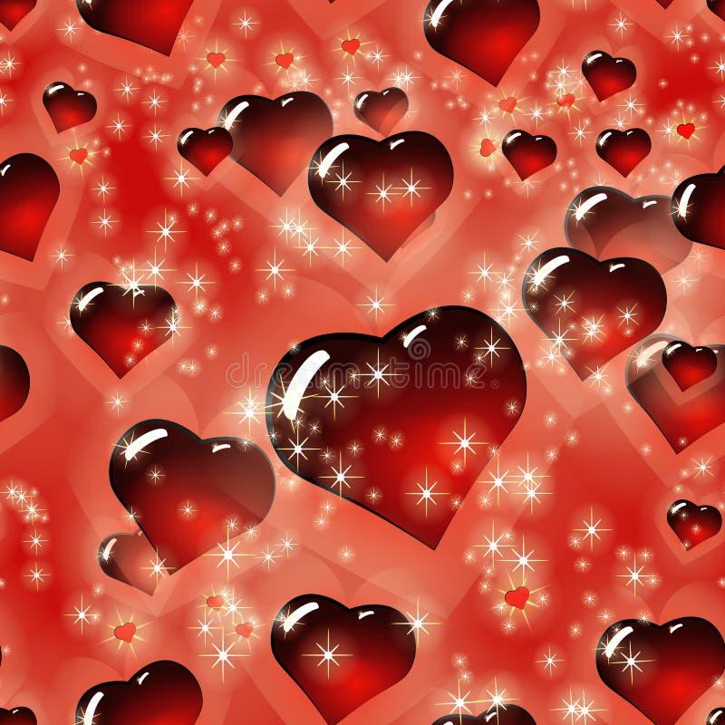 Sömlös modell för bakgrund för dag för hjärtaStValentine ` s vektor illustrationer