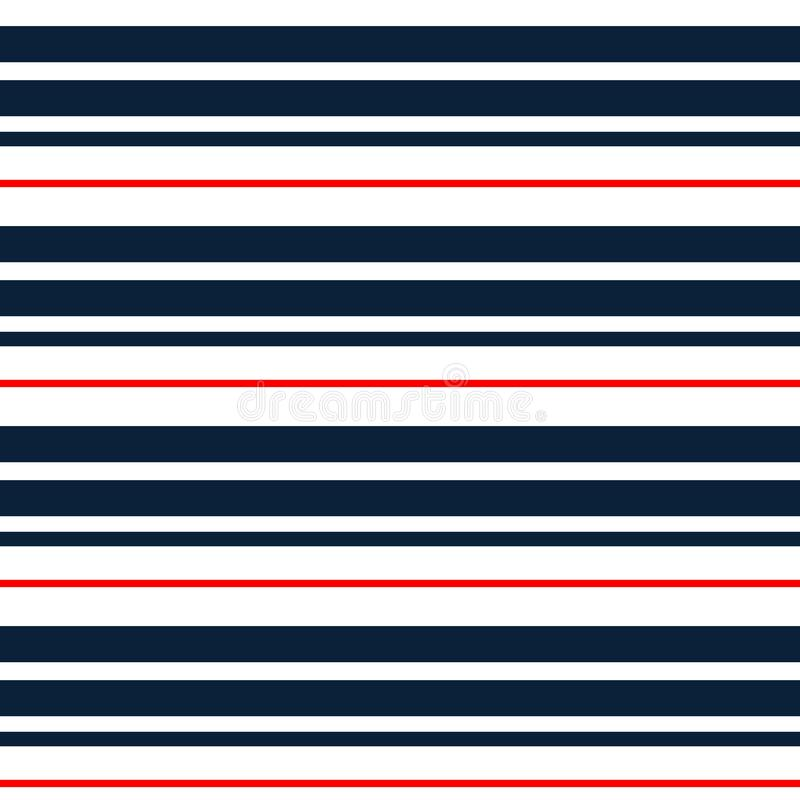 Sömlös modell för band med cyan, röda och vita horisontalparallella band Det kan vara nödvändigt för kapacitet av designarbete Fä royaltyfri illustrationer
