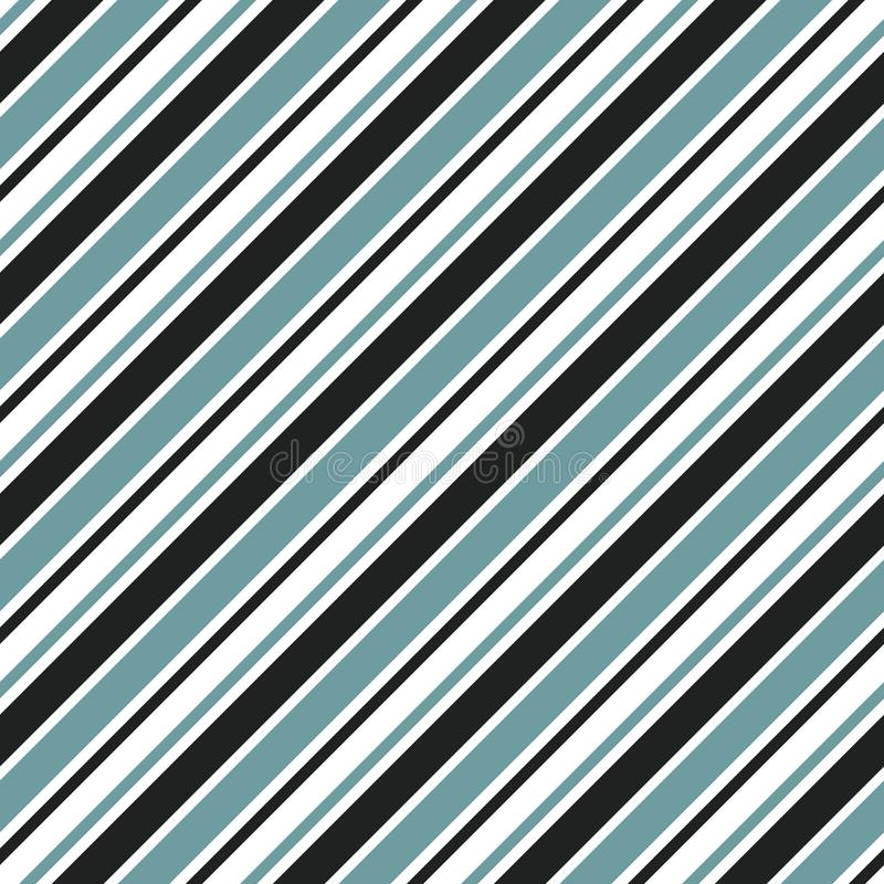 Sömlös modell för band med vertikala diagonala band för blåa, vita och svarta färger vektor royaltyfri illustrationer