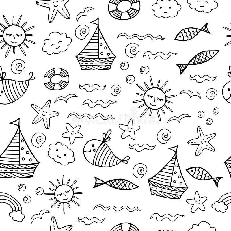 Sömlös modell för barn med klotterstrandbeståndsdelar - hav, sol, skal, fisk, skepp, sol Färga sidan för vuxna människor vektor vektor illustrationer
