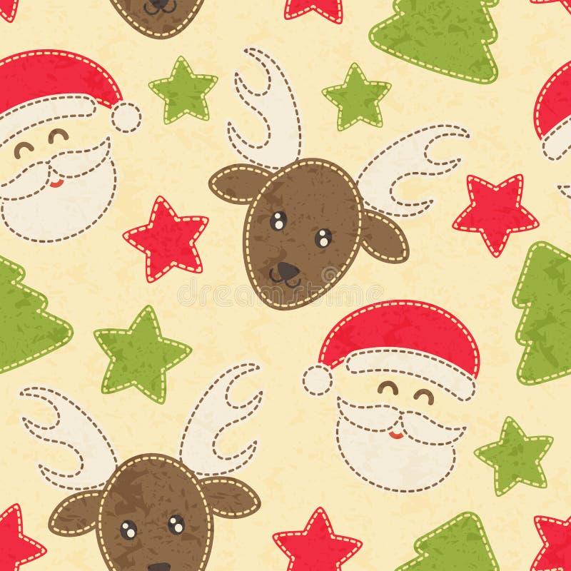 Sömlös modell för barnslig jul med Santa Claus, julgranar och renen royaltyfri illustrationer