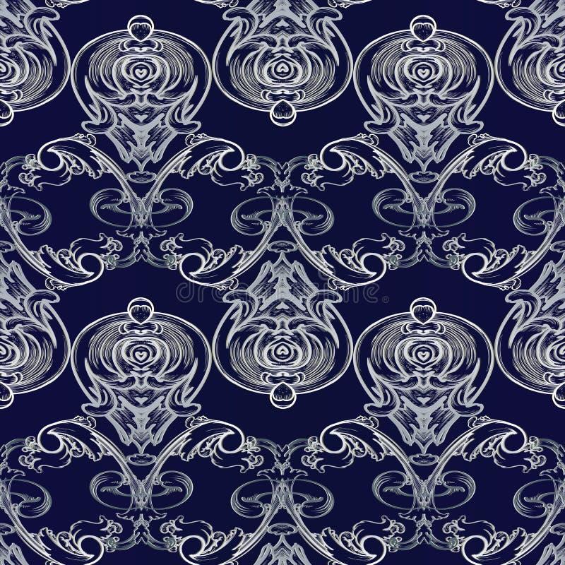 Sömlös modell för barock vektor Damast mörker - blå blom- backgro vektor illustrationer