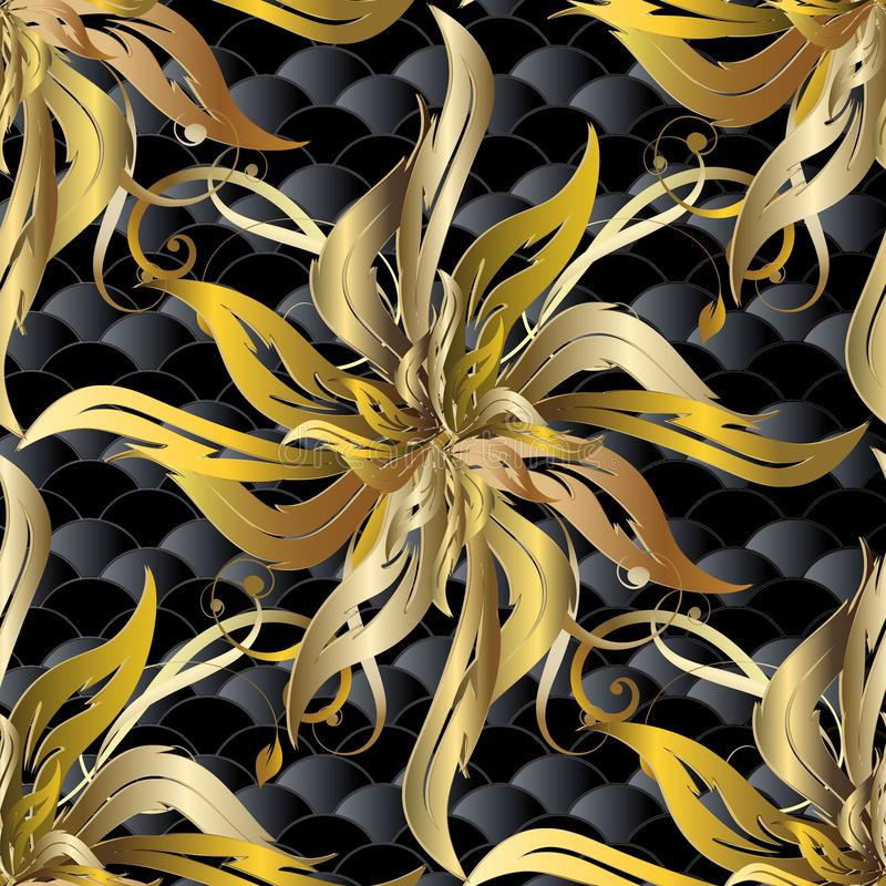 Sömlös modell för barock vektor för guld 3d Texturerad blom- modell vektor illustrationer