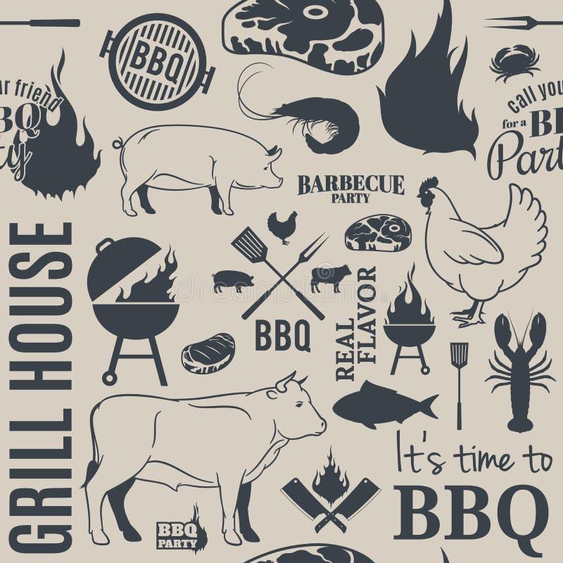 Sömlös modell för BBQ royaltyfri illustrationer