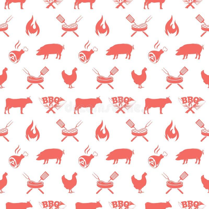 Sömlös modell för BBQ, vektorillustration med grillfestgallerbeståndsdelar stock illustrationer