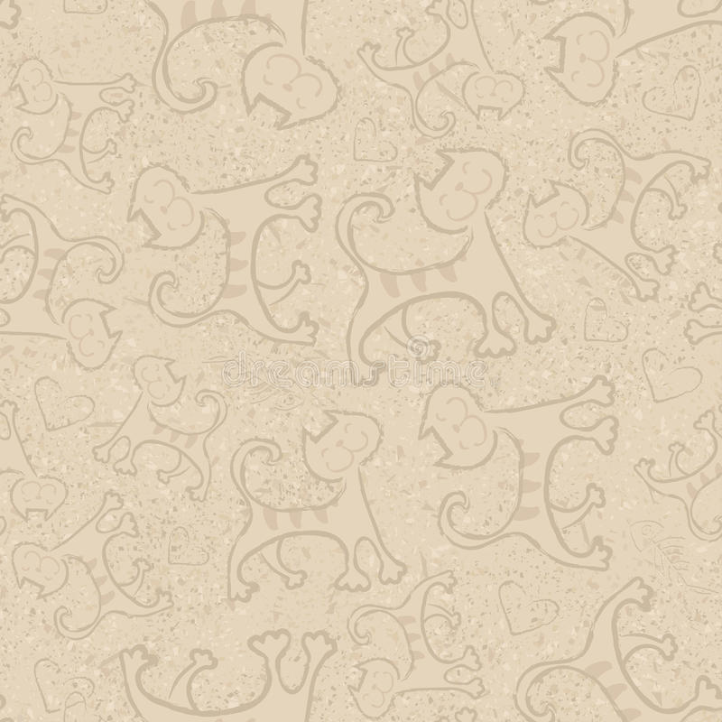 Sömlös modell för beige vektor med små gula kattungar för gulliga tecknad filmklotterkatter roliga djur Barn` s royaltyfri illustrationer