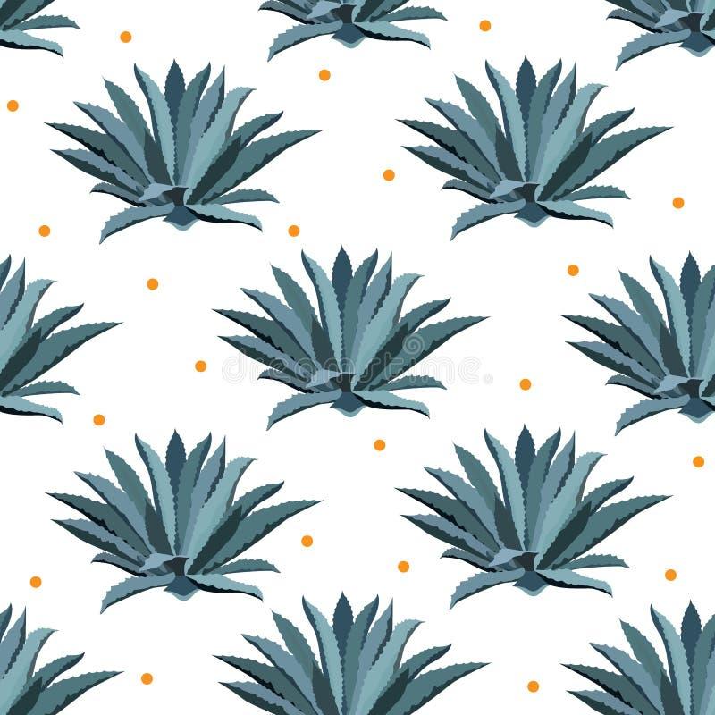 Sömlös modell för blå agavevektor Bakgrund för tequilapackar, superfood med agavesyrop och annan suckulent royaltyfri illustrationer