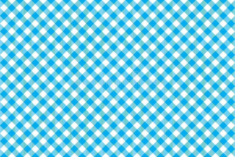 Sömlös modell för blå bakgrund för bordduk diagonal stock illustrationer