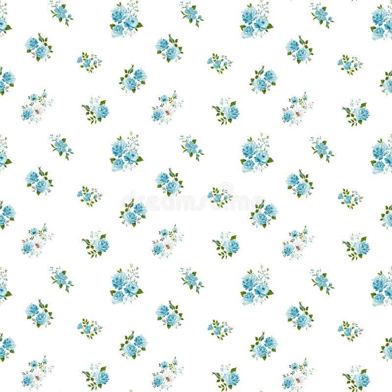 Sömlös modell för blå färg med rosor royaltyfri illustrationer