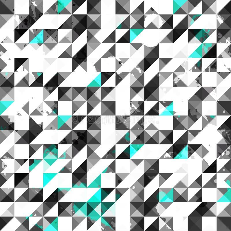 Sömlös modell för blå färggrungetriangel vektor illustrationer
