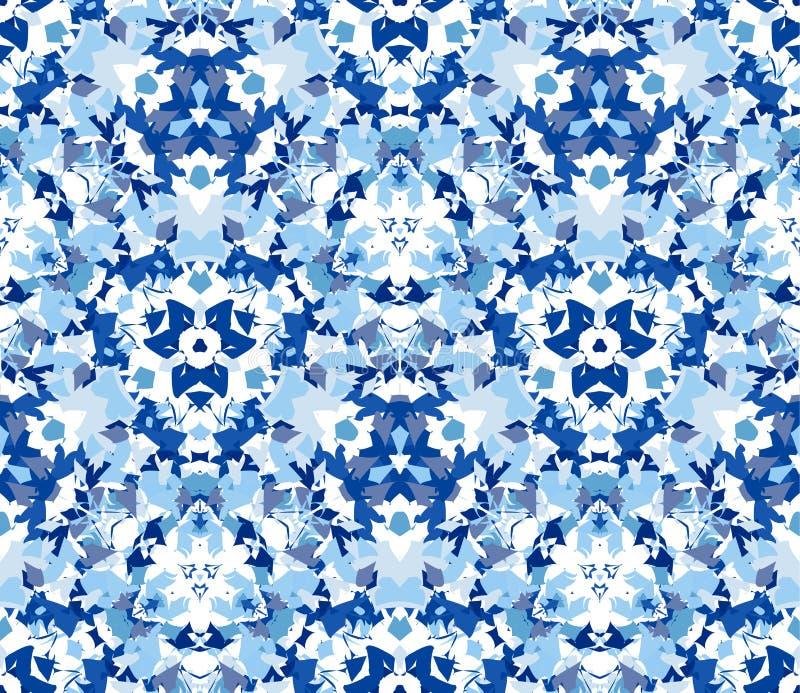 Sömlös modell för blå kalejdoskop Sömlös modell som komponeras av färgabstrakt begreppbeståndsdelar som lokaliseras på vit bakgru stock illustrationer