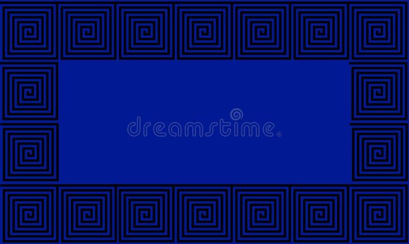 Sömlös modell för blå och svart ramgammalgrekiskaslingringar, alltför förenklad svart historisk bakgrund Geometrisk optisk illusi royaltyfri illustrationer