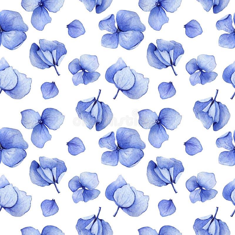 Sömlös modell för blå vanlig hortensiavattenfärg stock illustrationer