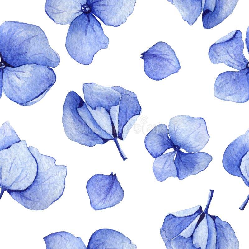 Sömlös modell för blå vanlig hortensiavattenfärg royaltyfri illustrationer
