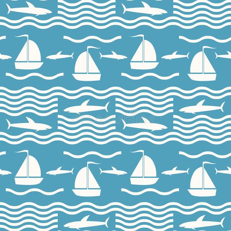 Sömlös modell för för blått och vit hav med hajar och seglingskeppet royaltyfri illustrationer