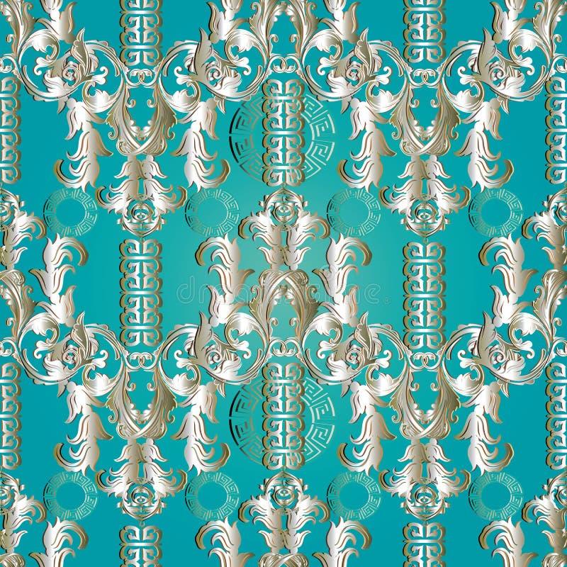 Sömlös modell för blom- barock slingringar Grektangenten smyckar vektor illustrationer