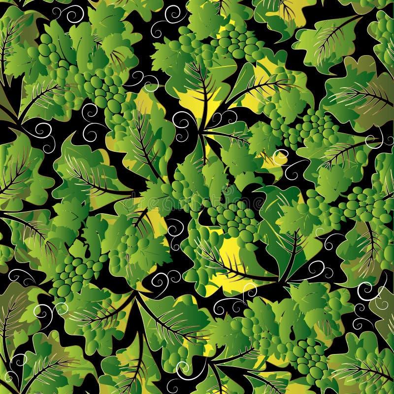 Sömlös modell för blom- druvor 3d Abstrakt bakgrundswa för vektor royaltyfri illustrationer