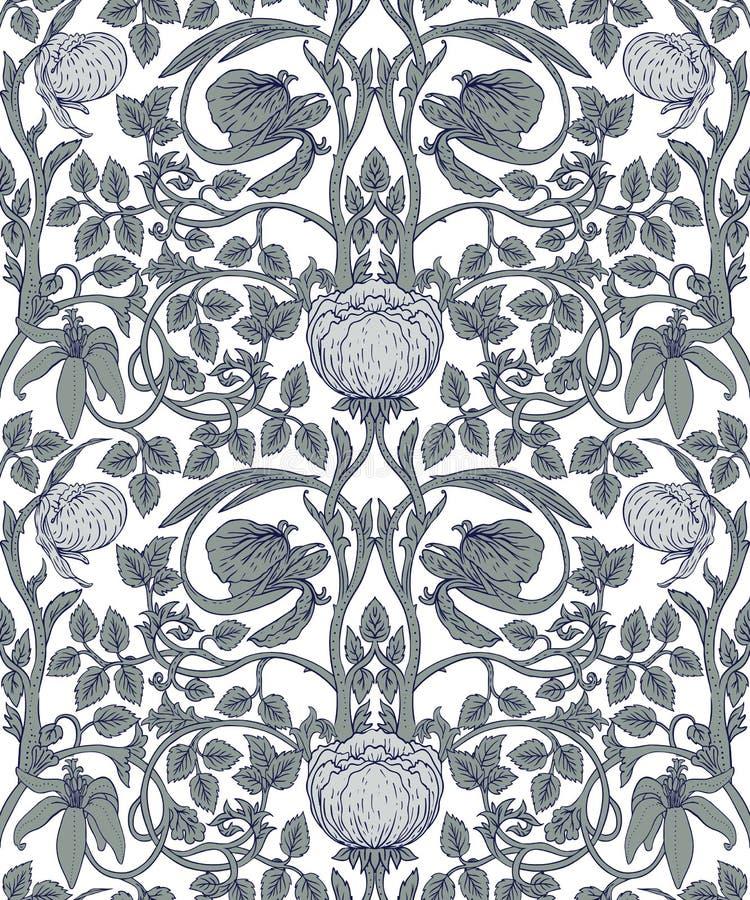 Sömlös modell för blom- tappning för retro tapeter enchained royaltyfri illustrationer
