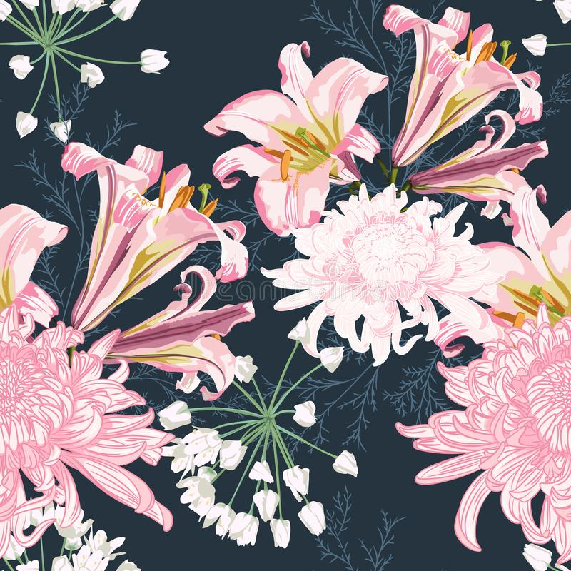 Sömlös modell för blomma med härliga rosa lilja- och krysantemumblommor på tappningmörker - blå bakgrundsmall royaltyfri illustrationer