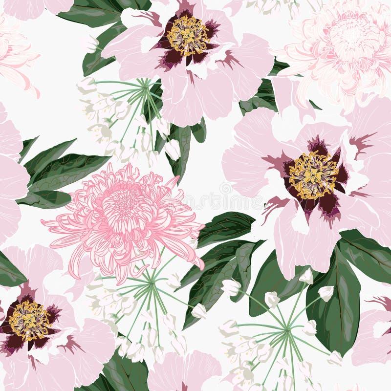 Sömlös modell för blomma med härliga rosa pion- och krysantemumblommor på den vita bakgrundsmallen stock illustrationer
