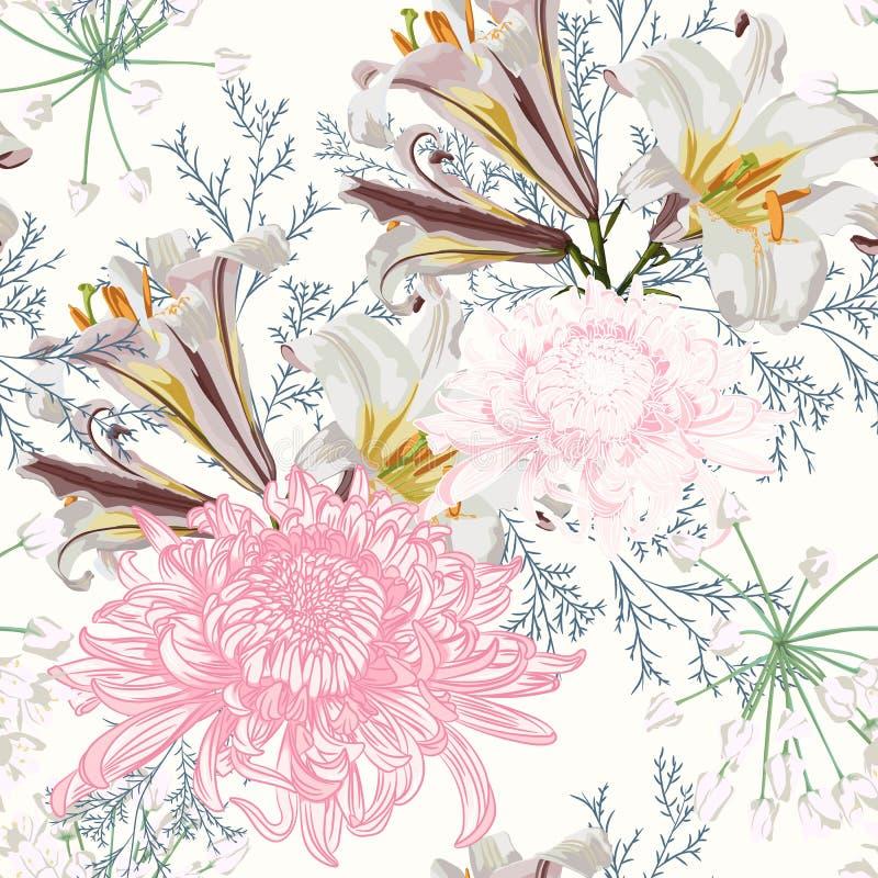 Sömlös modell för blomma med härliga vit lilja- och krysantemumblommor på ljus bakgrundsmall vektor illustrationer