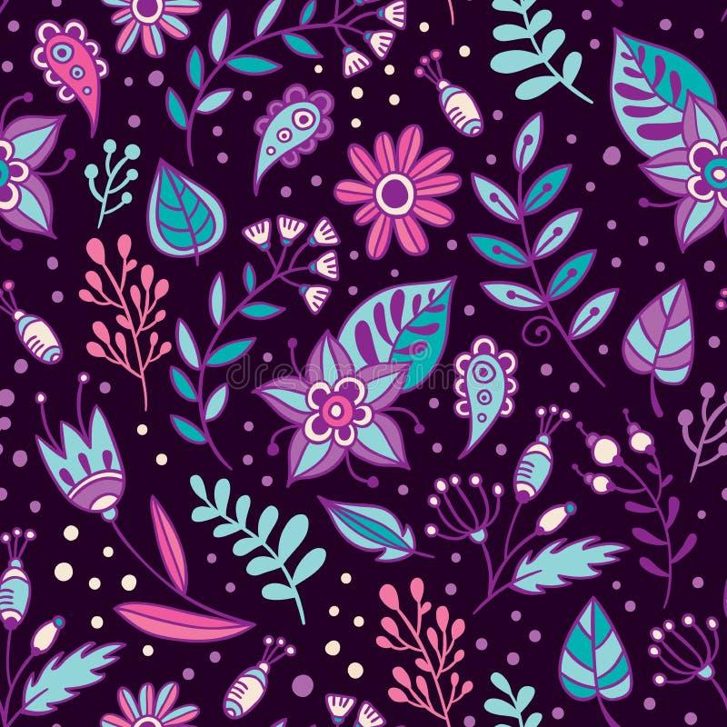 Sömlös modell för blomma- och örtvektor Blom- bakgrund med lilor, rosa färger och blått lämnar och växter stock illustrationer