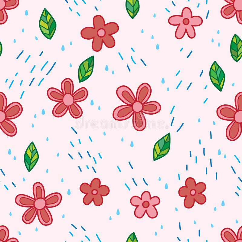 Sömlös modell för blomma och för regn royaltyfri illustrationer