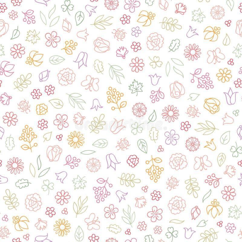 Sömlös modell för blommasymbol Blom- sidor, blommor Sommardekor vektor illustrationer
